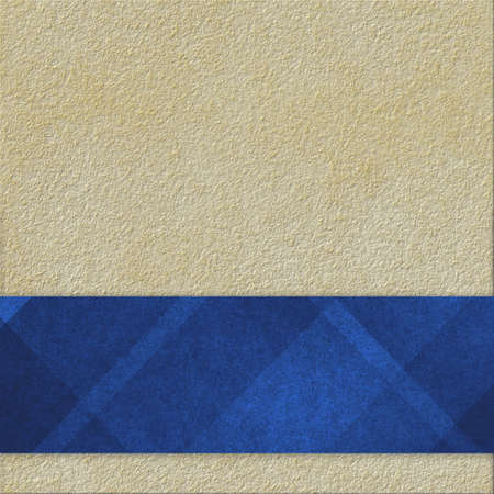 paper texture: light brown or beige background with abstract blue ribbon or label with diagonal striped pattern on bottom border