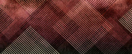 grid: white and black grid on burgundy red background with abstract diamond pattern of striped lines in a block design element, old vintage texture Stock Photo