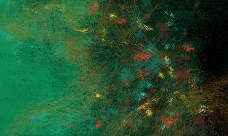 blue green background: abstract art texture design with black and green background and bright dabs of paint in blue red orange and yellow with brush stroke lines and swirls, dark modern style artsy backdrop Stock Photo