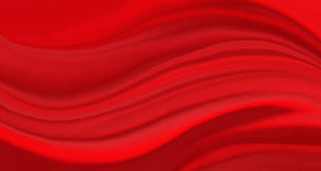 elegant rippled cloth illustration in bright red smooth silk texture with creases and folds in dramatic background design