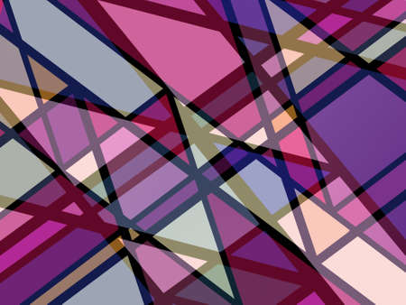 modern abstract art background design with colorful shades of pink purple and yellow with abstract triangle shapes and angled black lines in intersecting stain glass style pattern