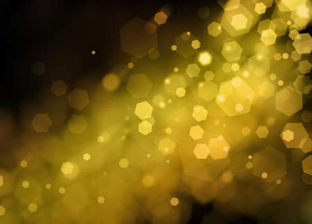 white: black night sky background with gold shafts of light shining on blurred out of focus bokeh lights in circles and hexagon shapes floating in air, shining pretty sparkle background design Stock Photo