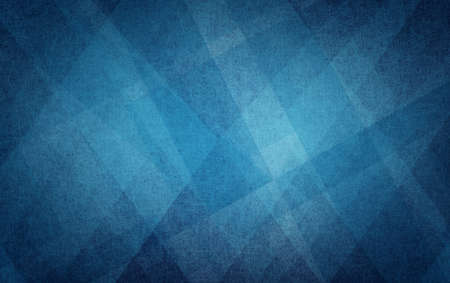 modern background: Blue geometric background with angled lines, blocks, diamonds, triangles, polygons and squares in textured pattern with dark black vignette border design and light color center Stock Photo