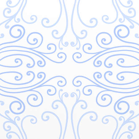 decoration: Pretty blue curls and line or vine flourishes in abstract pattern on white background, symmetrical background design Stock Photo