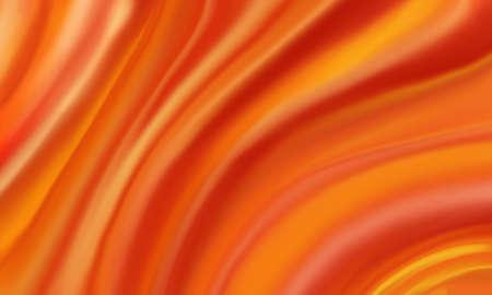大胆なオレンジの赤と黄色背景に明るいホットなカラフルな流れる材料で覆われた絹の布の抽象的な波、劇的な波状行布ひだや折り目のような溶融