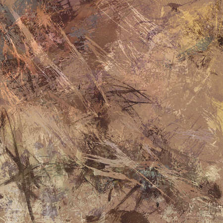 dirty: digital abstract expressionism style painting, abstract background design in beige and brown paint spatters and drips on canvas texture