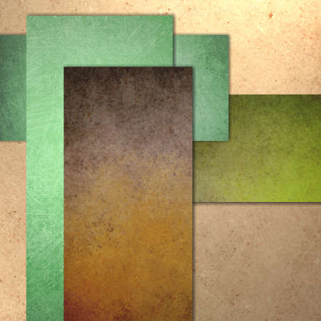 texture: light and dark brown beige and green report cover background with texture, grunge, soft lighting, graphic art design layout, blank text box image, abstract rectangle background blocks