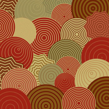 graphic: abstract circle and star patterns in layers of green and red