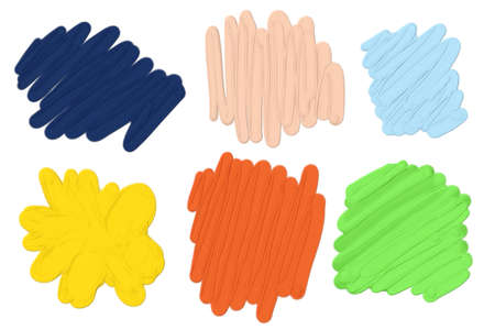 thick hand drawn paint blots in abstract squiggle lines and brush strokes in 3d illustration, vibrant colorful splashes of blue peach yellow orange pink green and gold, artsy design element Stock Photo