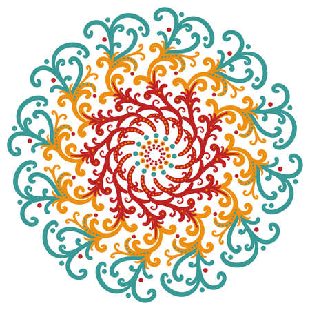 scrollwork: fancy blue orange and red seal or stamp style starburst flower design, kaleidoscope symmetry pattern with curved lines and scrollwork in trendy boho style Stock Photo