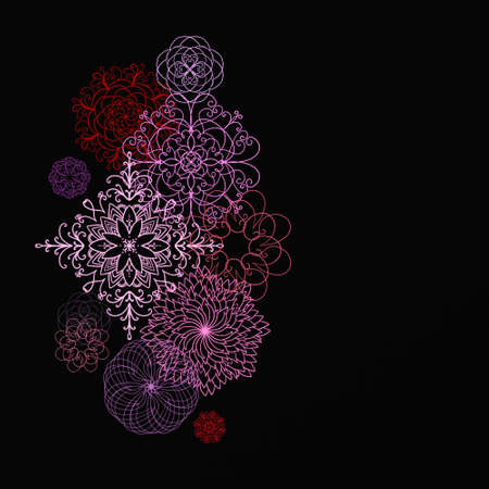 black background with fancy ornate symmetrical design elements