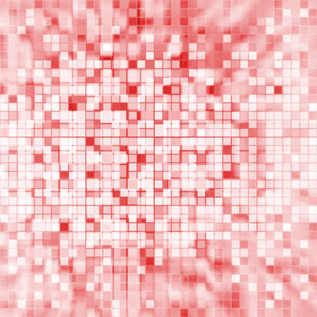 tile: grid background, pixel background, digital colorful blocks and striped pattern detail, fine squares of pink red and white colors in random pattern with faded center  Stock Photo