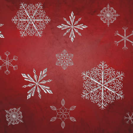 large embossed silver white snowflakes on vintage red background with rough distressed texture, red holiday background design with falling snow, Christmas wallpaper pattern Stock Photo