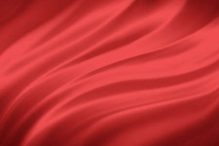 red background cloth illustration. Wavy folds of silk texture material with deep wrinkles or drapes