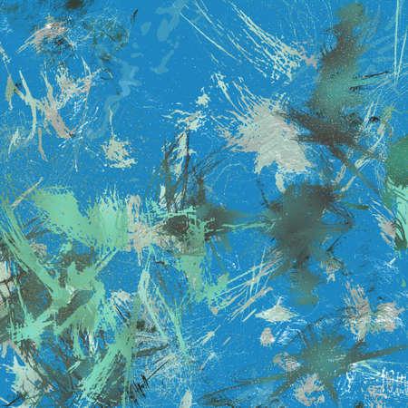 abstract modern art background in expressionism style of paint dabs and ink spatters Stock Photo