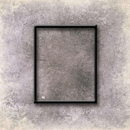 basic thin black frame mock-up on brown grunge wall background texture, blank interior display 3d illustration for 8x10 or 16x20 size