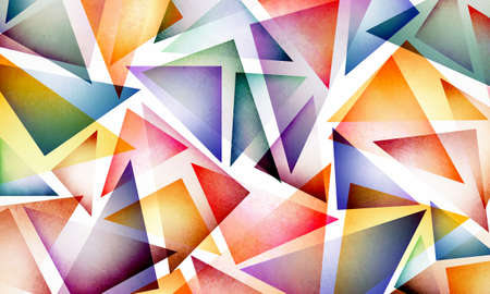 Bright colorful abstract background design with layers of triangle shapes in bold colors of yellow red blue green purple orange gold and pink, modern contemporary trend Stock Photo