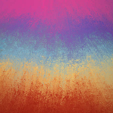 artsy: colorful smeared paint background in bold stripes of pink purple blue yellow and orange red with texture Stock Photo