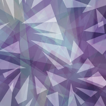 abstract triangle shapes layered in random pattern, purple blue and white background in modern art style, transparent geometric shard design