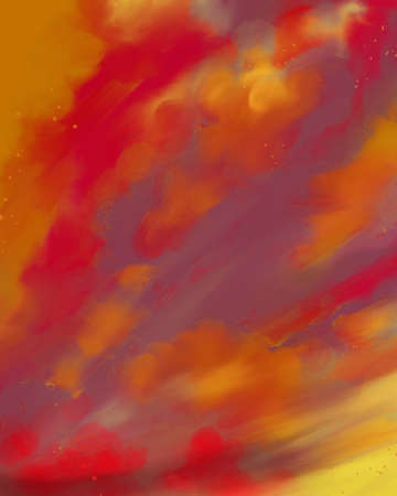 abstract sunrise or sunset painting, deep bright shades or warm colors in cloud sky background