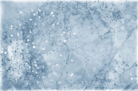 old vintage blue paper background with cracks creased folds and paint stain spatters