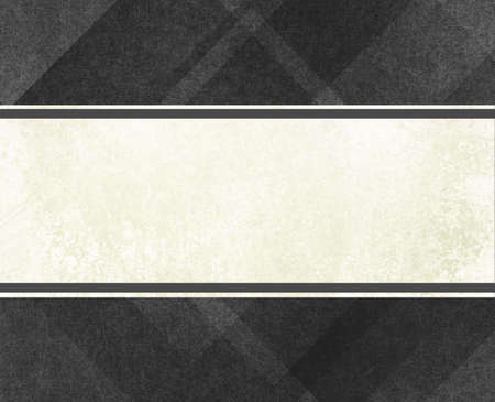 abstract black background with faint plaid textured stripes and lines on border,  with old white label with dark gray ribbon trim style design in center