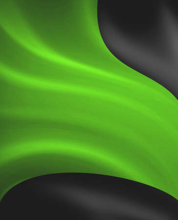 Abstract black green background design, bright green streaks of light or draped cloth on dark black color Stock Photo