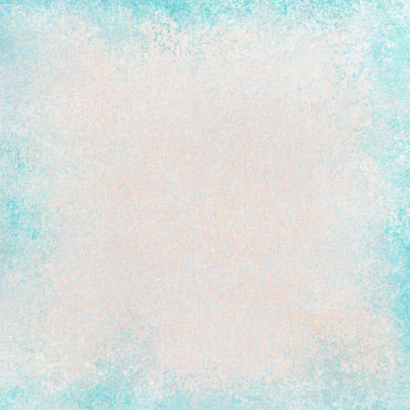 blank old white background with distressed light bright blue border design, textured vintage paper with grunge frame