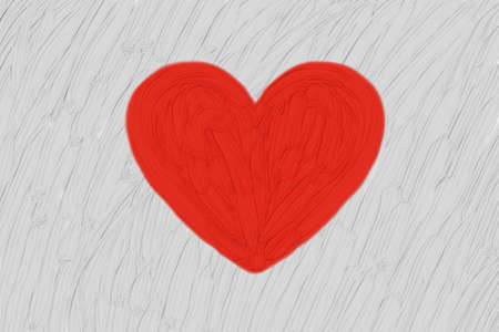 painted red heart in light gray or off white background with thick brush strokes, valentines day design element