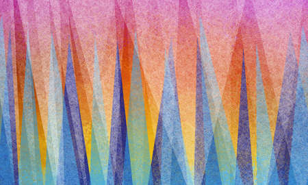 abstract background design with triangle shapes in white parchment texture on bright colorful shards of blue green and purple on brilliant vibrant orange pink red and yellow colors Stock Photo