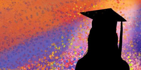 graduation background with black graduate silhouette with cap and tassel on colorful paint spatter design, college or high school education banner