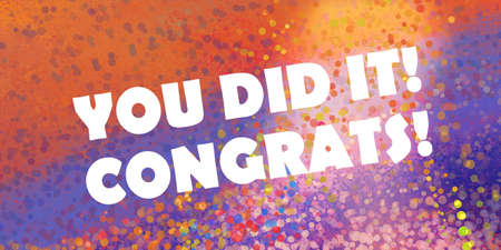 congratulations achievement background design for graduation or promotion with white text saying you did iton backdrop of purple orange pink  and yellow confetti bubbles or circle bokeh lights