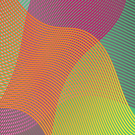 colorful wavy lines in an abstract background design vector in waves of purple orange green yellow and pink Illustration