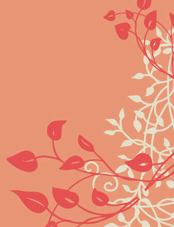 pretty pink and peach floral design background vector with a climbing ivy or vine border design in dark pink and white leaves Illustration