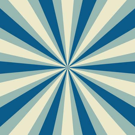 retro sunburst vector pattern in blue and white radial stripes, sunshine or sun rays