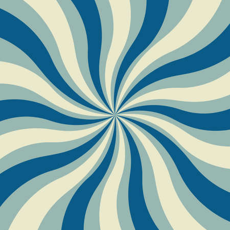 sunburst retro design background vector in light and dark blue and white with swirled lines