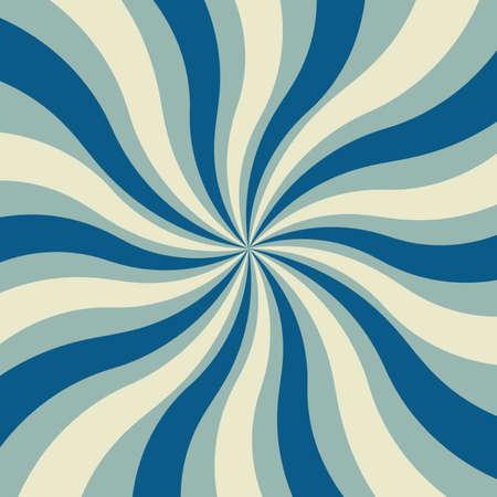 vecteur de fond design rétro sunburst en bleu clair et foncé et blanc avec des lignes tourbillonnantes