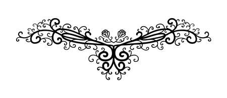 vector design element, beautiful fancy curls and swirls divider or underline design, black ink lines. Can be placed on any color. Wedding design element. Standard-Bild - 114917286