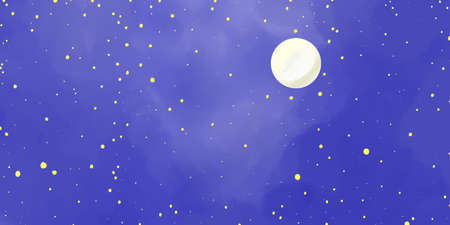 dark blue night sky illustration with moon and stars on cloudy foggy blue background Stock Photo