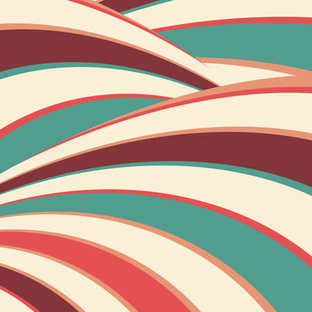 artsy groovy vector background with curving stripes in fun abstract design in blue green red orange peach beige white and burgundy brown colors Standard-Bild - 114782332