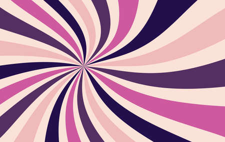 starburst or sunburst background pattern with a vintage color palette of pink and purple in a radial striped spiral or swirled design Imagens - 114782333