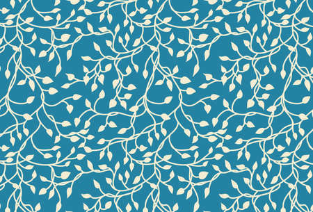 hand drawn ivy and vines in yellow on a blue background in a pretty entwining tangle of leaves in a floral nature vector pattern