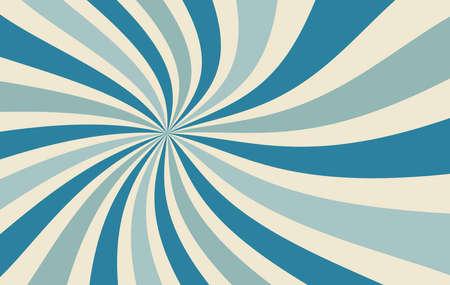 patrón de vector de fondo retro starburst o sunburst con una paleta de colores vintage de azul y beige en un diseño de rayas radiales en espiral o remolino