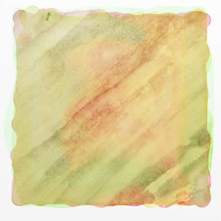 watercolor background paper texture with abstract diagonal lines and streaks, square blotch of paint in brown green and yellow stains on watercolor paper