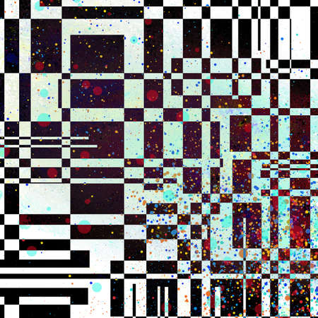 abstract black and white intersecting line design elements in checkered pattern with spots or drips of colored red yellow and blue paint on black background, artsy image