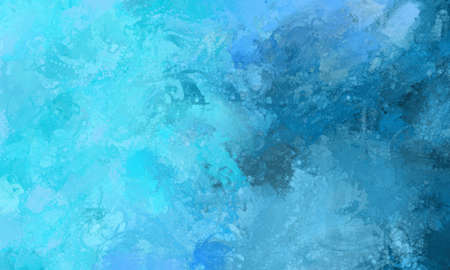 abstract blue water background illustration with paint splashes and spatter, messy brush strokes with drips and waves Imagens