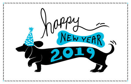 Happy New Year 2019 background design with cute fun dachshund doxie dog wearing blue party hat with bone pattern and 2019 typography on the puppy vector silhouette