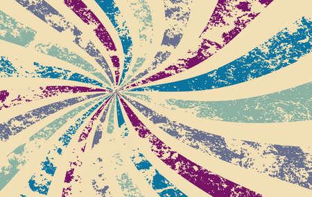 patrón de vector de fondo retro starburst o sunburst con una textura vintage angustiada y colores de púrpura azul verde y blanco beige en un diseño de rayas radiales en espiral o arremolinado