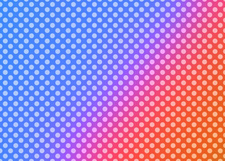 bright polka dot pattern background in hot pink orange and blue gradient colors in retro style Standard-Bild - 115498663