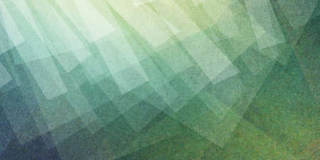 abstract artsy blue green and yellow background with different layers of white triangles and rectangles in transparent design Stock Photo